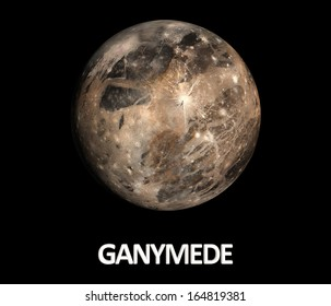A rendered Image of the Jupiter Moon Ganymede on a clean black background with english caption.