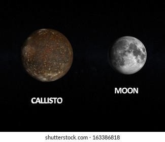 A rendered size comparison of the Jupiter Moon Callisto and the Earth Moon on a starry background with captions.