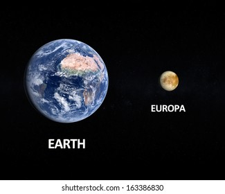 A rendered size comparison of the Jupiter Moon Europa and Planet Earth on a starry background with english captions.