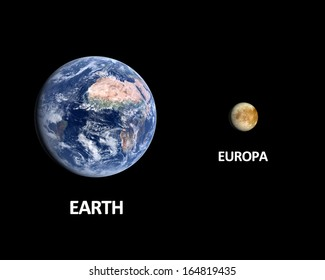 A rendered size comparison of the Jupiter Moon Europa and Planet Earth on a clean black background with english captions.