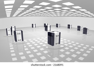 a rendered sterile looking room with a computer network.