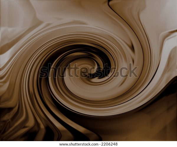 Rendered swirl of dark chocolate with 3D effect