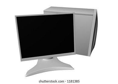 Rendered white computer with LCD monitor