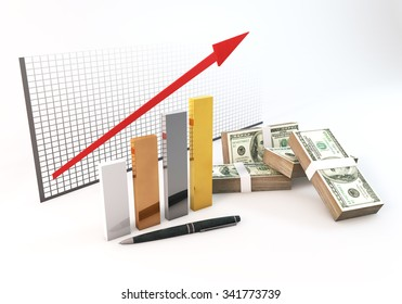 Rendering 3 Dimensions image on a white background; The idea about of Financial and Investment Business.