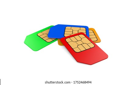 rendering colored  sim card for mobile phones on white background