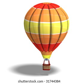 Rendering of a colorful balloon with Clipping Path and shadow over white