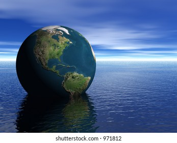 A rendering of the earth in the ocean