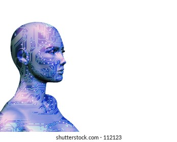 A rendering of a female with a computer circuit texture, in blue.