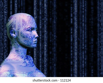 A rendering of a female with a computer circuit texture, in blue.  Matrix style background.