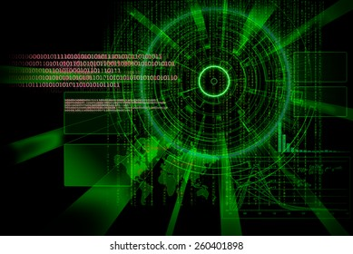 rendering of a futuristic cyber background target with laser light bright effect