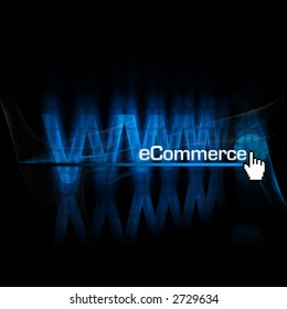 """rendering and illustration of an abstract """"www"""" type with globe and """"eCommerce"""" type in front"""
