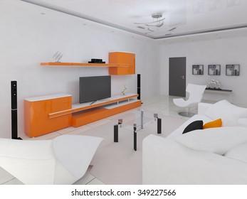 Rendering of a modern living room, 3d rendering.