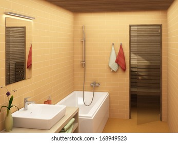 rendering of a modern warm colored bathroom