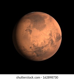 A rendering of the Planet Mars on a clean black background.