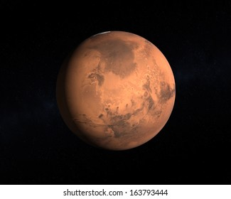 A rendering of the Planet Mars on a starry background.