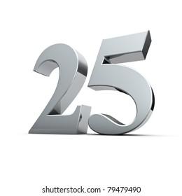 Rendering of a silver twenty-five number