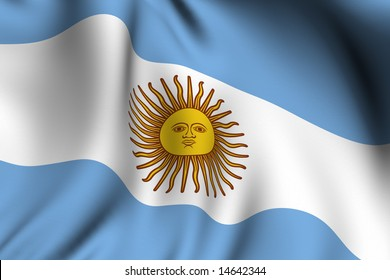 Rendering of a waving flag of Argentina with accurate colors and design.