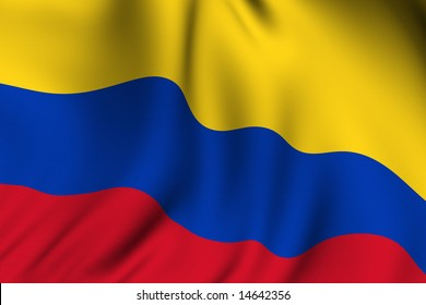 Rendering of a waving flag of Colombia with accurate colors and design.