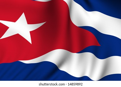 Rendering of a waving flag of Cuba with accurate colors and design.