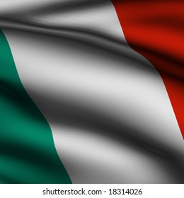 Rendering of a waving flag of Italy with accurate colors and design and a fabric texture in a square format.