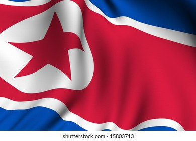 Rendering of a waving flag of North Korea with accurate colors and design and a fabric texture.