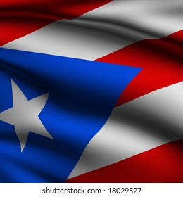 Rendering of a waving flag of Puerto Rico with accurate colors and design and a fabric texture in a square format.