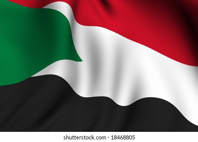 Rendering of a waving flag of the Sudan with accurate colors and design and a fabric texture.