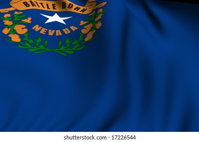 Rendering of a waving flag of the US state of Nevada with accurate colors and design and a fabric texture.