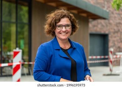 Rendsburg, Germany 23. Jun. 21 The mayor of the city of Rendsburg Janet Sönnichsen, opens new mobile corona vaccination offer in Rendsburg.