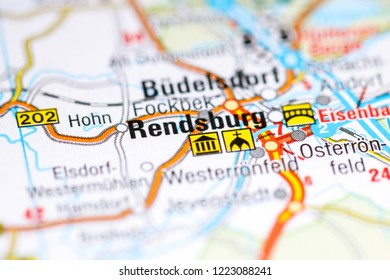 Rendsburg. Germany on a map