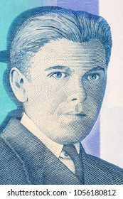 Rene Magritte portrait from Belgian money
