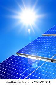 Renewable, alternative solar energy, sun-power plant on sky background