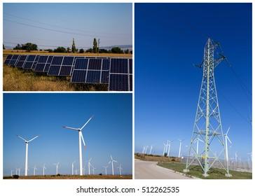 Renewable electricity concept Solar Panels, Windmills and Pylon