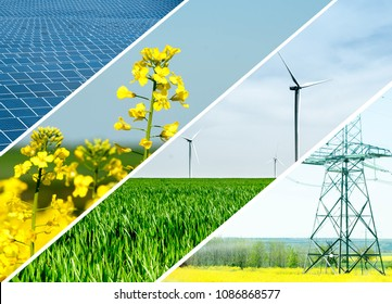 Renewable energies and sustainable resources - electrical energy infrastucture, wind mills, rapeseed flower and solar panel. Photo collage