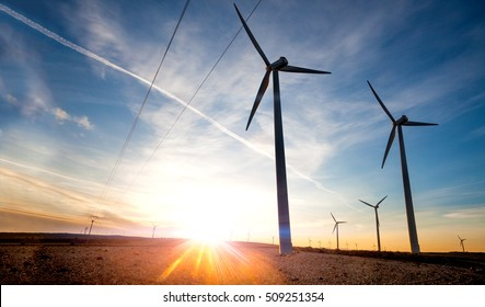 renewable energies. Wind farm. Wind Turbines