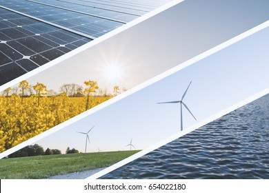 Renewable Energy Collage - Wind mills, rapeseed field, solar cell and Water surface for ecological power production