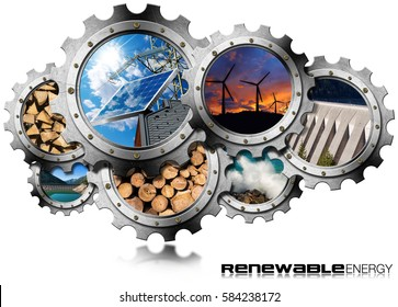Renewable Energy Concept - 3D illustration of a group of gears with the sustainable energies. Wind, solar, biomass, hydro-power, power of the sea