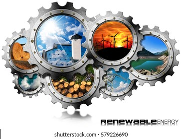 Renewable Energy Concept - Group of gears with the sustainable energies. Wind, solar, biomass, hydropower, power of the sea