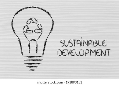 renewable energy concept: lightbulb with recycle sign as filament