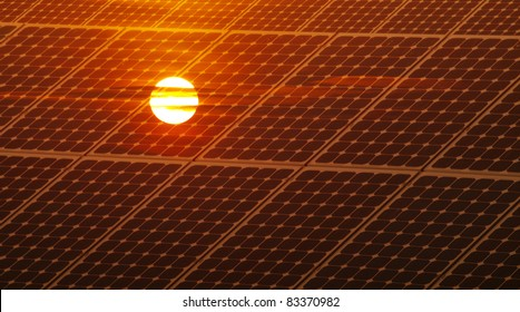 Renewable energy concept with photovoltaic panel and red sun