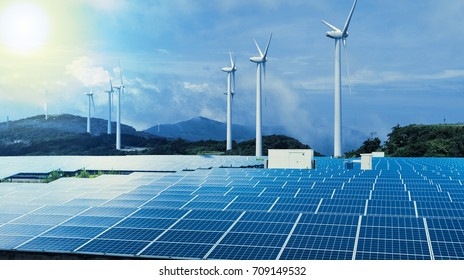 renewable energy conceptual visual. wind power plant and solar power plant.