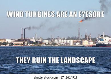 Renewable energy funny meme for social media sharing. Renewable energy opposers joke.