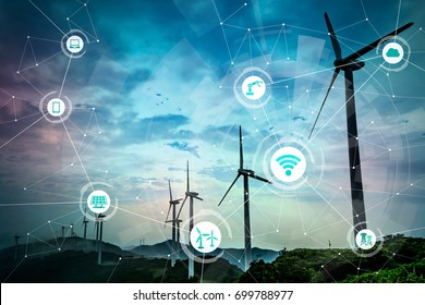 Renewable energy and Internet of Things. Smart factory. Smart energy. Smart grid concept.