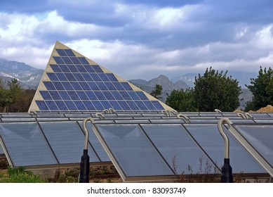 Renewable Energy plant with photovoltaic panels and solar water heaters