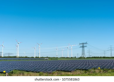 Renewable energy plants and power supply lines seen in Germany