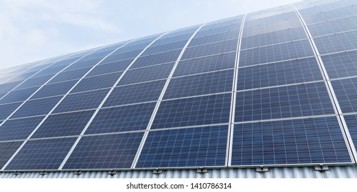 Renewable energy solar modules in sunshine banner web template in sky
