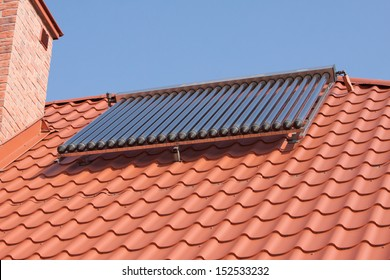 Renewable energy. Solar panels on the roof a private house