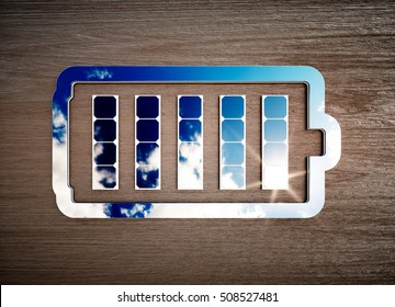 Renewable energy storage sign on dark wooden desk. 3d illustration.