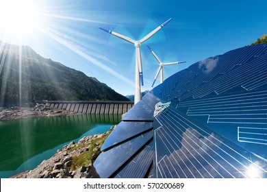 Renewable Energy - Sunlight with solar panel. Wind with wind turbines. Rain with dam for hydropower - Shutterstock ID 570200689
