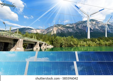 Renewable Energy - Sunlight with solar panel. Wind with wind turbines (3d illustration). Water with dam for hydro power
